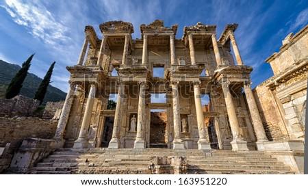 Ruins of ancient Ephesus in Turkey - stock photo