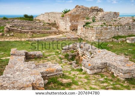 Ruins of ancient fortress on Kaliakra headland, Bulgarian Black Sea Coast - stock photo