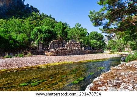 Ruins of ancient greek and roman ancient city of Olympos near Antalya Turkey - stock photo