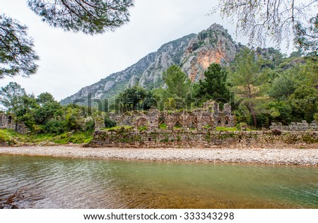 Ruins of ancient greek and roman ancient city of Olympos near Antalya Turkey