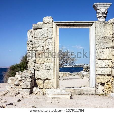 Ruins of ancient Greek basilica, Chersonesus, Crimea - stock photo
