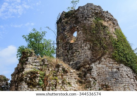 ruins of ancient greek castle tower covered with green liana and small trees in New Athos Abkhazia Georgia - stock photo