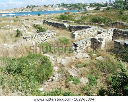 Ruins of ancient greek city Chersonesus in Sevastopol, Crimea, Ukraine