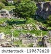 Ruins of ancient Greek town Chersonese, outdoor museum, Sevastopol, Crimea, Ukraine. - stock photo