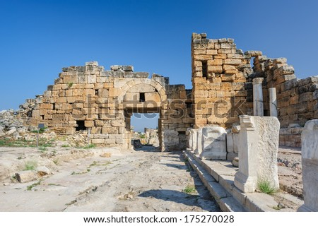 Ruins of ancient Hierapolis, now Pamukkale, Turkey