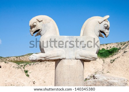 Ruins of ancient Persepolis, Iran. Two-headed Griffin. - stock photo