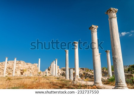 Ruins of ancient Salamis city. Famagusta district. Cyprus - stock photo
