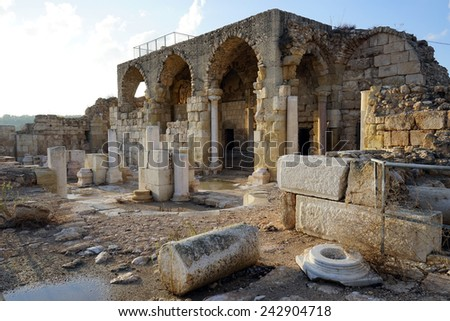 Ruins of ancient temple in Beit Guvrin, Israel                                - stock photo