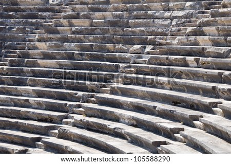 Ruins of ancient theater. Seats only. Nobody.