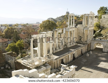 Ruins of ancient theatre in town Plovdiv, Bulgaria. - stock photo