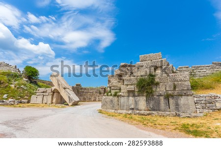 ruins of Arcadian gate in Ancient Messina, Peloponnese, Greece - stock photo