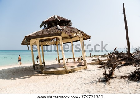 Ruins of architectural building after the tsunami on an island in the Andaman Sea, Thailand. - stock photo
