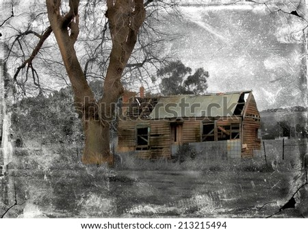 Ruins of Australian homestead with retro grunge filter applied - stock photo