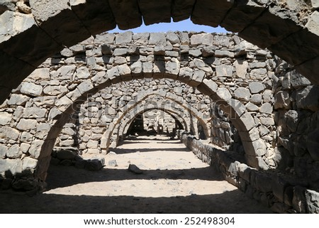 Ruins of Azraq Castle,  central-eastern Jordan, 100 km east of Amman - stock photo