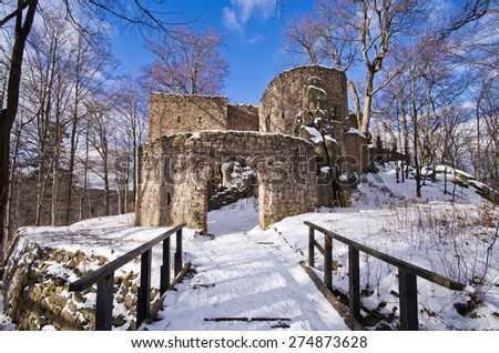 Ruins of Bolczow castle in Rudawy Janowickie mountains, Poland - stock photo