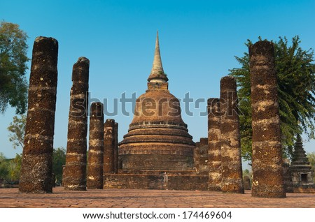 Ruins of buddhist temple in Sukhothai historical park, Thailand