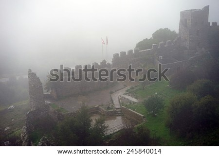 Ruins of Buffavento castle and mist, Norh Cyprus                                - stock photo
