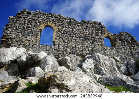 Ruins of Buffavento castle on the top of rock, North Cyprus                                - stock photo