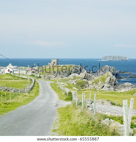 ruins of Carrickabraghy Castle, County Donegal, Ireland - stock photo