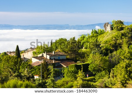 ruins of castle and village, Montfuron, Provence, France - stock photo