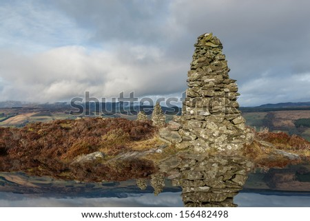 Ruins of Castle Dow in Perth And Kinross, Scotland - stock photo
