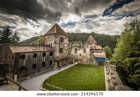 Ruins of Castle Krems (Burgruine Krems) near Voitsberg,Styria,Austria - stock photo