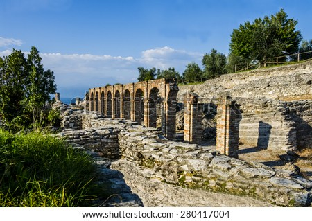 Ruins of Catullus Caves, roman villa in Sirmione, Garda Lake, Italy  - stock photo
