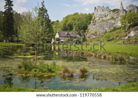 Ruins of Chateau Montaigle, Belgium - stock photo