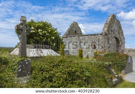 Ruins of church in Ireland - stock photo