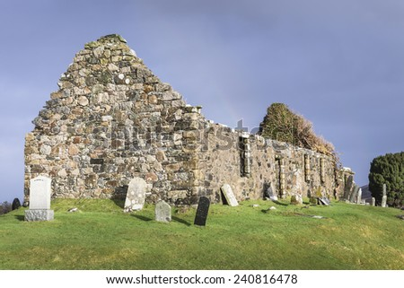 Ruins of Cill Chriosd on the Isle of Skye in Scotland. - stock photo