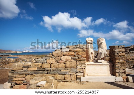 Ruins of Cleopatra House in Delos, Greece