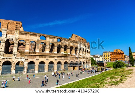 Ruins of Colosseum or Flavian Amphitheatre in Rome, Italy - stock photo