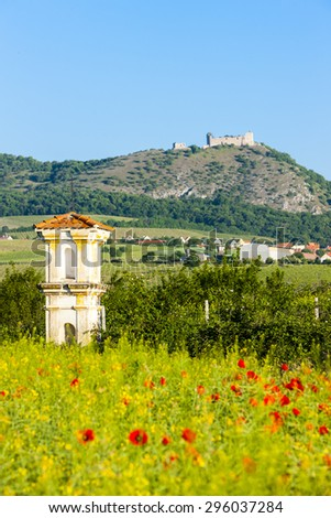 ruins of Devicky castle with God''s torture, Czech Republic - stock photo