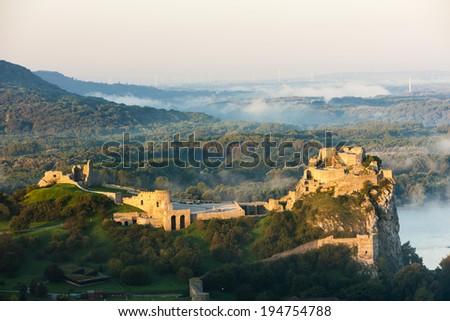 ruins of Devin Castle, Slovakia - stock photo
