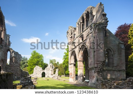 ruins of Dryburgh Abbey, Scottish Borders, Scotland - stock photo