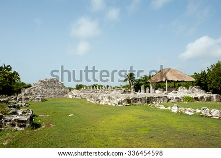 Ruins of El Ray, in Cancun, Mexico - stock photo