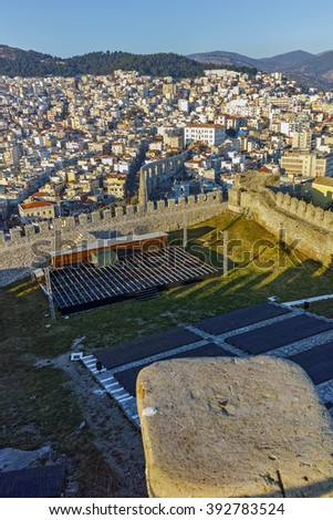 Ruins of fortress in Kavala and panoramic view to city, East Macedonia and Thrace, Greece