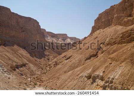 Ruins of fortress Masada, Israel - stock photo