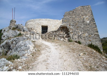 Ruins of fortress on the top of hill in Skradin, Croatia - stock photo