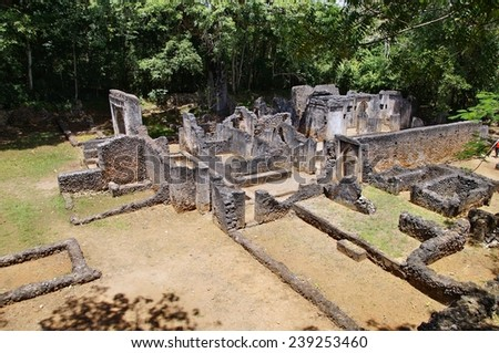 Ruins of Gede near Malindi, Kenya - stock photo