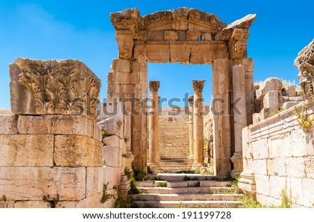 Ruins of Gerasa, modern Jerash, Jordan - stock photo