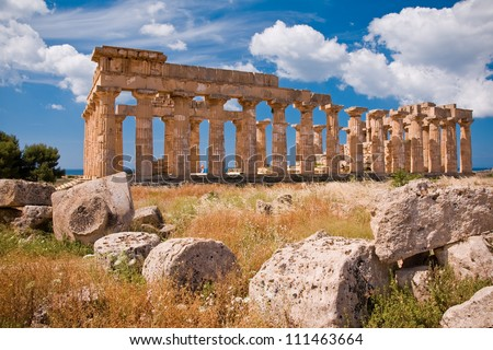 Ruins of greek temple, Selinunte, Sicily, Italy - stock photo