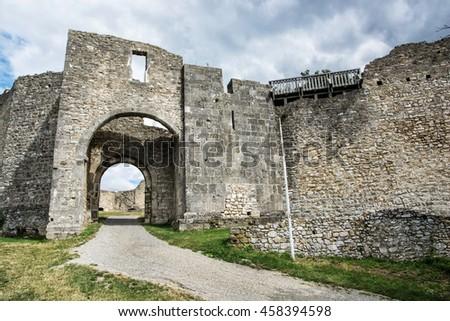 Ruins of Hainburg an der Donau, Austria. Ancient architecture. Gateway to the castle. Travel destination. Beautiful place. Cultural heritage. - stock photo