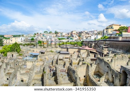 ruins of herculaneum destroyed by vesuvius volcano are less famous than ruins of pompeii, but nevertheless they also create compact area of former buildings attracting thousands of tourist every year - stock photo