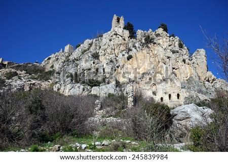 Ruins of Hilarion castle, North Cyprus                                - stock photo