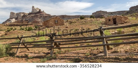 Ruins of historic stone mine cabins at an abandoned radium mine from the 1880s in the San Rafael Swell in Utah near Temple Mountain. - stock photo