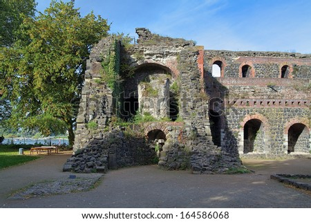Ruins of Kaiserpfalz (Imperial Palace) in Kaiserswerth district of Dusseldorf, Germany - stock photo