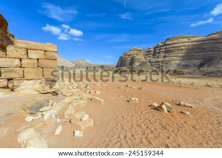 Ruins of  Lawrence of Arabia's House in Wadi Rum desert, Jordan - stock photo
