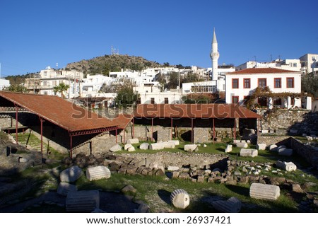 Ruins of mausoleum and mosque in Bodrum, Turkey