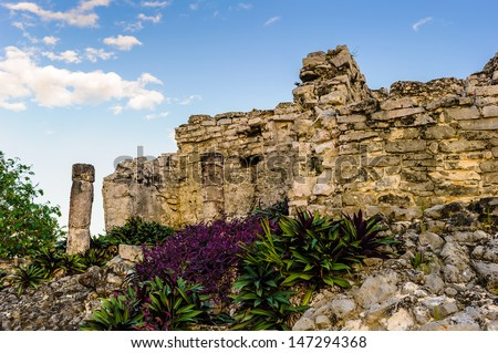 Ruins of Mayan city Tulum on the Yutacan, Mexico - stock photo